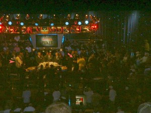 10:16 PM, Monday, Nov. 9 - 2009 WSOP Final Table stage as starting time approaches