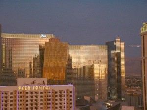 11/07/09 5:57am - Full shot of the Aria Resort & Casino and the Vdara Resort Hotel & Spa