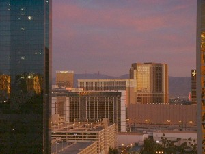 The Trump Towers and Wynn in the distance on 11/07/09