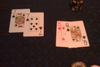 Big Blind's hole cards on the left. My hole cards on the right.