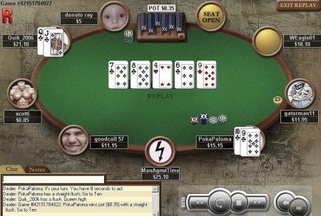 Straight Flush made in Online Poker Cash Game