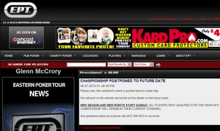Eastern Poker Tour Cancellation Posted