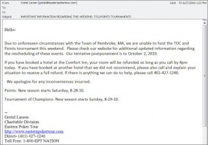 Eastern Poker Tour Cancellation Email