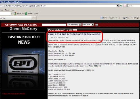 Eastern Poker Tour Final $30K No Limit Hold em Tournament Results