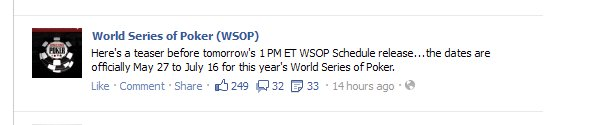 2012 WSOP Official Dates Announced