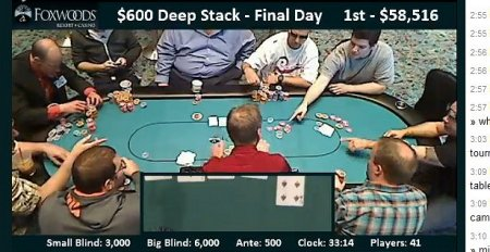 Floor stacking chips for seat 3 at 3:10pm