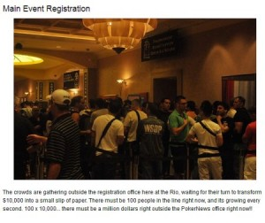 Snapshot of article at PokerNews.com re: 2012 WSOP Main Event Registration