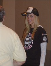 Poker Pro Vanessa Rousso with attendee of her Main Event Prep Camp July 2011