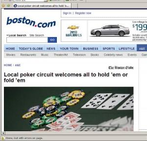 Eastern Poker Tour in Boston Globe Article